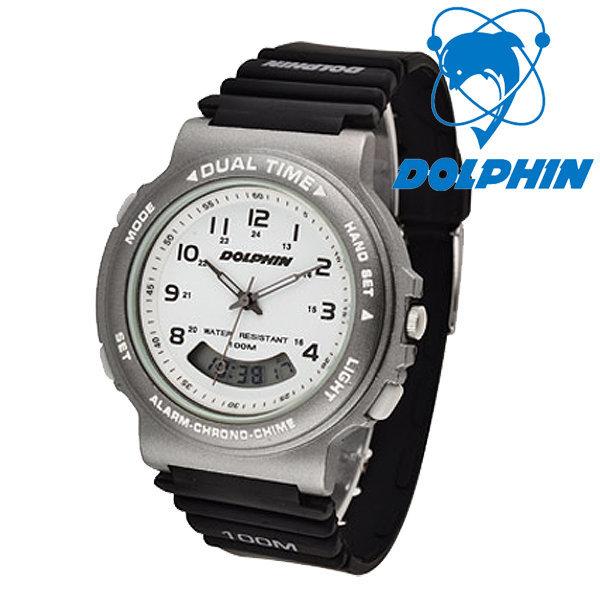 돌핀  100M 방수 아날로그+디지털 손목시계 852-2C