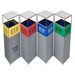 4분류 분리수거함 실내외용 70L 스텐재질 D-67