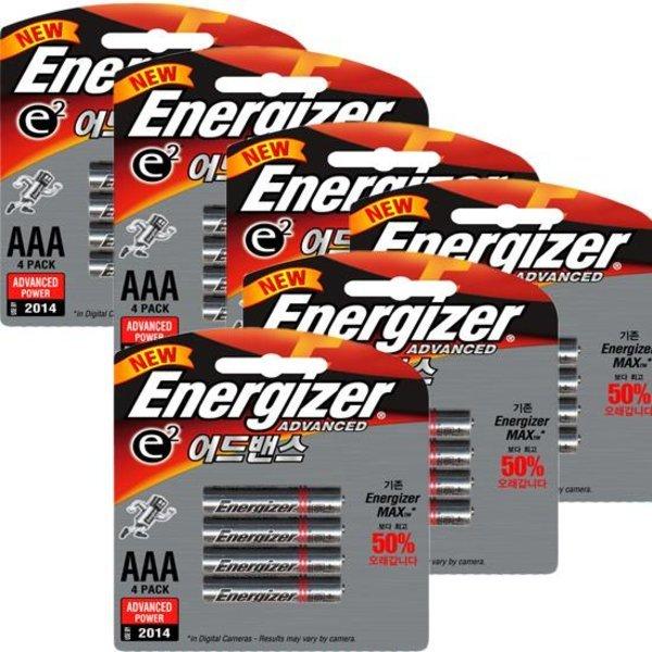에너자이저  e2 어드밴스 알카라인 건전지 AAA 4입 X 6Pack