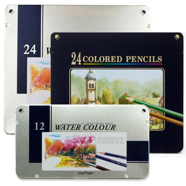 문화연필 색연필 12색 24색 넥스프로 수채 틴케이스