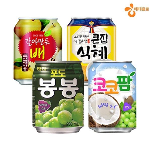 해태스타음료238ml 24캔/코코팜 봉봉 배 큰집식혜