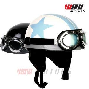고글 빈티지 헬멧 패션 면 반모 스쿠터 오토바이 용품
