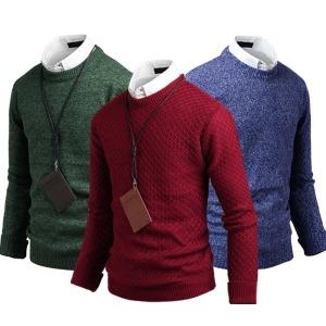 남자 라운드 니트 남성 스웨터 반집업 꽈배기