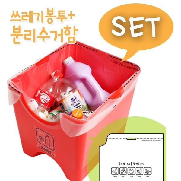 SET분리수거함  에코홀릭분리수거함 4단30L+쓰레기봉