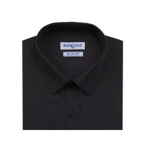 슬림 블랙 솔리드셔츠_검정색 슬림핏 와이셔츠