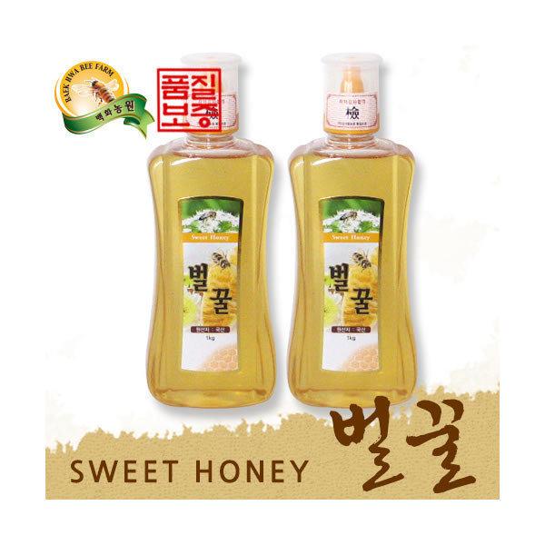 (현대Hmall) 백화농원  꿀3代 국내산 벌꿀 (1kg+1kg)