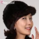 차콜  패션플러스 천연 밍크 풀스킨 브라운 승마 모자