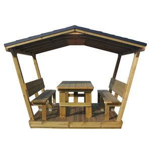 데크 지붕 야외 야외용 방부목 원목 테이블 벤치 의자