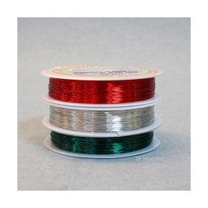 맘아트  칼라 동철사 0.3mm 30M - 빨강 초록 은색