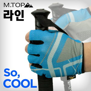 엠탑 라인 반장갑 남성 / 미끄럼방지 쿨메쉬 등산장갑