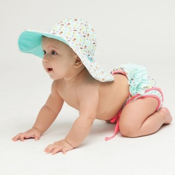 엘리라후리프유  유아 기저귀수영복+모자 2종