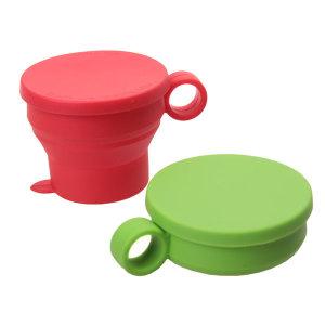 국산 접이식 실리콘컵 (뚜껑포함) 손잡이형 등산 컵
