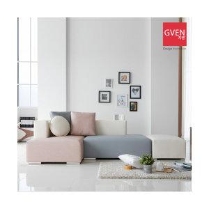 GVEN 지벤 로웰 3+1인용 핑크 카우치 소파 (스툴포함)