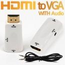 HDMI to VGA컨버터/무전원/음성지원/오디오케이블포함